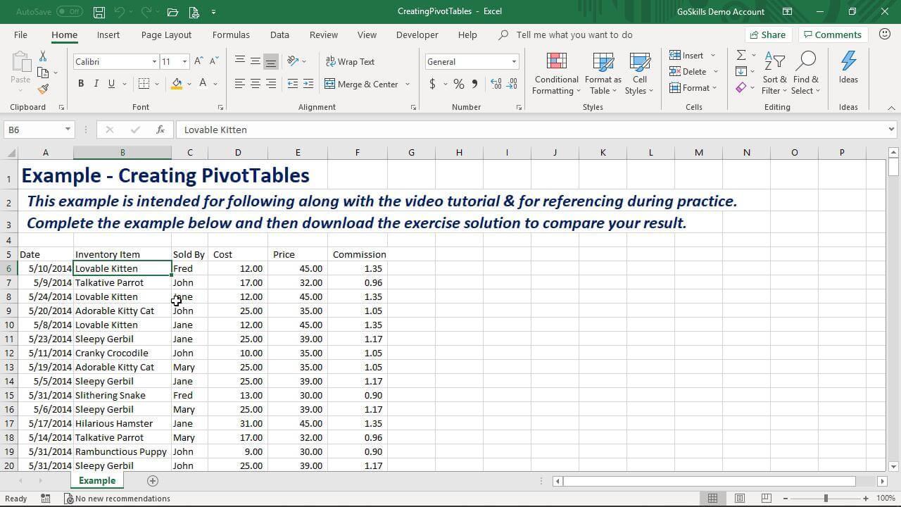 Creating PivotTables